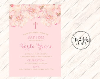 Watercolor Baptism Invitation, Girl Christening Invitation, Pink Baptism Invitation Printable,  Pink Floral Christening Invitation