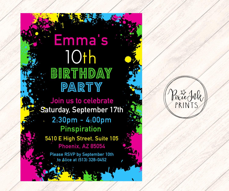 Paint Splatter Invitation Art Party Invitation Glow Birthday