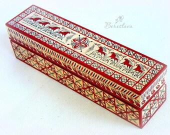 Box for jewerly-Jewelry wooden box-Handpainted wooden box-Handmade casket-Painting on wood-Handpainted suvenir-Gift for eweryone-Mezen