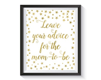 Advice For The Mom To Be Printable Sign, Gold confetti Baby Shower Advice Sign, Leave Advice Sign, Baby Shower décor, Mommy-to-be advice