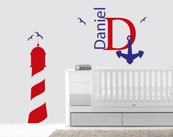 Personalized Name Anchor Bird And Lighthouse Baby Boy  Room Nursery - Mural Wall Decal Sticker For Home Bedroom