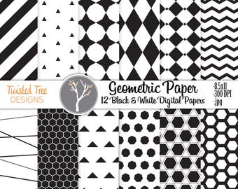 12 Black & White Geometric Digital Papers 8.5x11 , for DIY projects, Blogs, Invitations, Small Business use.