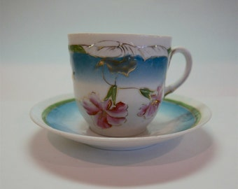 Antique Large Porcelain Coffee Cup with Saucer
