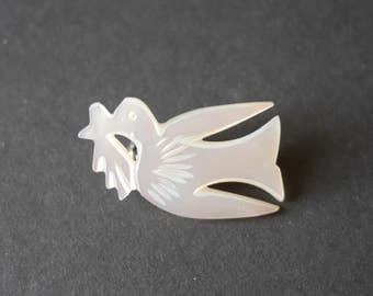 Mother of pearl dove of peace brooch, vintage bird brooch