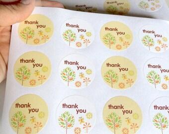 """Etichette/labels 24 pezzi, """"thank you"""""""