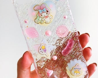 READY TO SHIP my melody  jelly cream case with 100% handmade cabochons