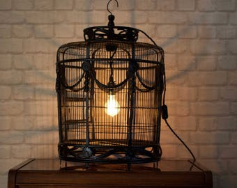 "Vintage 'BIRDCAGE' Lamp with Vintage ONE PRE Bulb by ""Timber Bros""."
