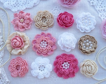 Kit crochet flowers(12pcs) in shabby chic style for headband,sewing and scrapbooking.Shabby Chic Flower/Vintage Chic Flower