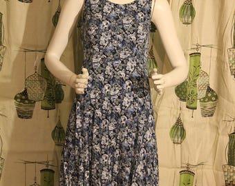 1990's Blue Floral Sleeveless Dress