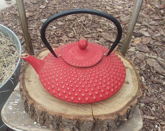 Japanese Cast Iron Tea Pot Red And Gold