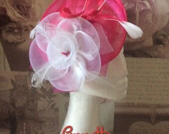 Fushia Pink and white fascinator
