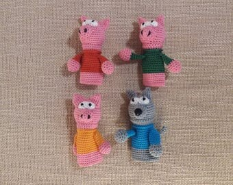 The Three Little Pigs and The Big Bad Wolf finger poppets, Finger-toys, poppets, finger poppets, Finger dolls