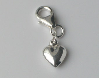 925 Sterling Silver Puffed Heart Charm with Lobster Clasp