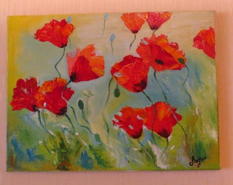 Red Papaver Oil Painting, Abstract Flowers for Wife, Mom