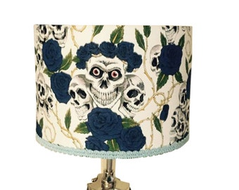 Skull lampshade, blue roses, white background, Day of the Dead, Gothic lampshade, skeletons, skulls, skull, royal blue, braid