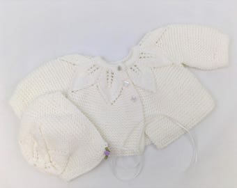 White Knit Baby Sweater and Hat