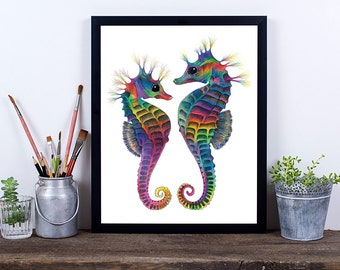 Seahorse Decor, Printable Wall Art, Art Print, Instant Download, Seahorse Print, Seahorse Art, Digital Download Art, Wall Art Prints