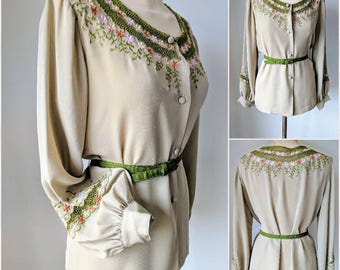 Mid Century Japanese Embroidered Blouse
