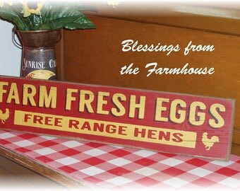 Farm Fresh Eggs Free Range Hens Fixer Upper style farmhouse wood sign reclaimed wood rustic