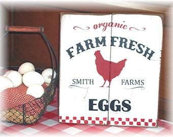 Organic Farm Fresh Eggs Smith Farms wood sign Fixer Upper Style Country Farmhouse