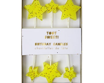 12 Yellow Star Cake Candles with Gold Glitter for Happy Birthday Cakes Celebrations Topper Baby Shower Candle Childrens Party Theme Supplies
