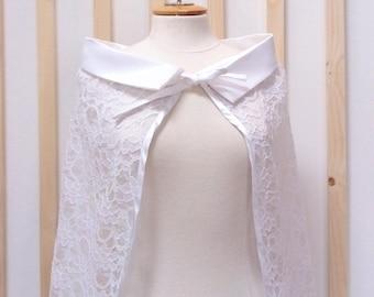 Lace cape, bridal capelet,white cape , bridal cape ,bridal cover up
