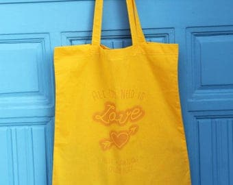 Pack 10 customizable Totebags Love handmade silkscreen / guests, where gifts, remember... / from 10 ex.