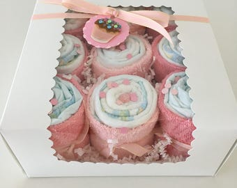 Dandelion Wishes Pink Diaper Cupcakes - Ready to Ship!