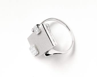 Malevich-02: sterling silver square ring