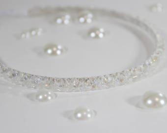 Beaded White Headband For Girls and Adults, Metal Headband