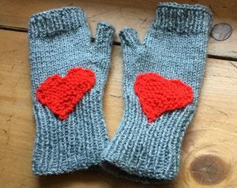 Red heart fingerless mittens