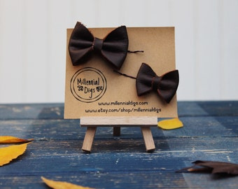 Genuine Leather Bow Hair Pin Set - BROWN TEXTURED *On Sale*