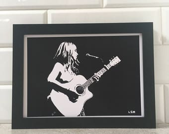 Singing With My Guitar - Black & White Print
