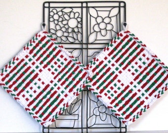 "GK's Kitchen - One Pair 8"" x 8""  - Jumbo Red, Green and White Potholders.   Item # GK's Kitchen - Winter 00408"