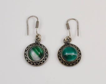 Sterling Silver 925 Green Agate Earrings(01170)