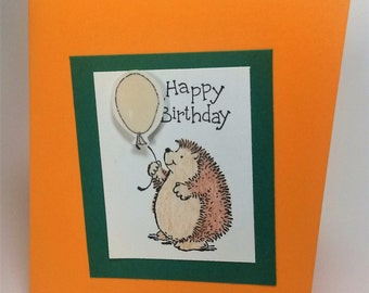 Hedgehog Happy Birthday card, child birthday, custom greeting cards, handmade greeting cards, paper handmade greeting cards, blank cards