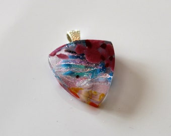 Pretty in Pink Fused Glass Pebble Pendant with Silver Plated Bail: Dichroic Glass
