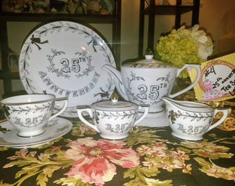 LEFTON Silver 25th ANNIVERSARY TEA set Tea pot, tea cup, saucer, cream and sugar Dining Serving Celebration