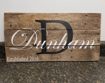 Custom Name Sign, Personalized Sign, Wedding Gift Sign, Pallet Last Name Sign, Rustic Sign, Established Date Family Sign,Weathered sign