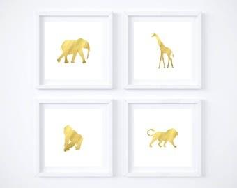 Safari Animals Gold Foil Printables - Digital Download - Gold Foil Prints - Elephant - Giraffe - Monkey - Safari Animals - Nursery Decor