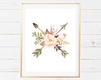 Boho Tribal Floral and Arrows Baby Nursery Printable - Watercolor Arrows Floral Wall Art - Tribal Boho Printables - Printable Nursery Art