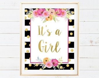 Baby Girl Gender Reveal Party Decorations - Printable Party Sign - Its A Girl Sign - Baby Shower Decorations - Baby Shower Sign - Baby Decor