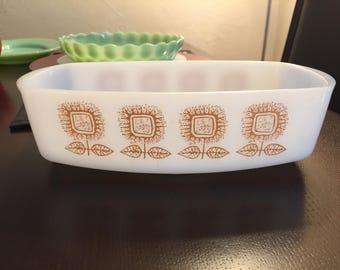 Federal Glass Loaf Pan, Casserole Dish, Sunflower/Connoisseur pattern.