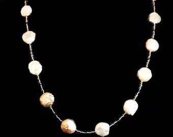 """Coin Pearl Necklace 23"""""""