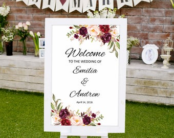 Welcome Sign Wedding Template, Printable Wedding Reception Sign, Welcome Wedding Sign, Wedding Poster #A023, INSTANT DOWNLOAD, Editable PDF