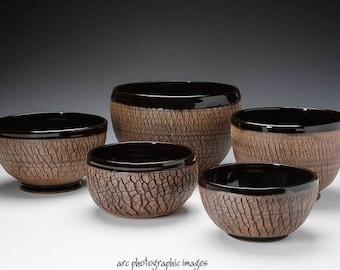 Medium Black Ceramic Bowls