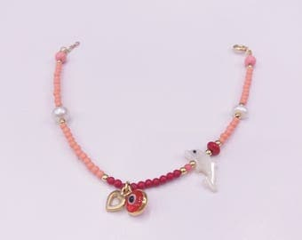 Coral Charm bracelet for baby. Silver gold plated.