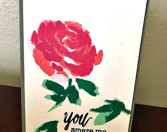 You Amaze Me Single Rose Card