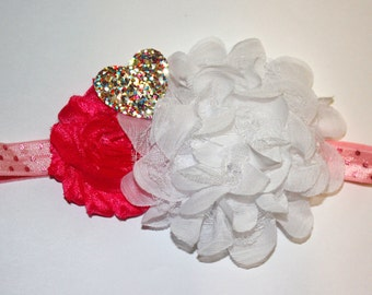 Multi-Colored Glitter Valentine's Day Heart Accented Flower Boutique Headband (16 inches Normally Fits 6M-2T)