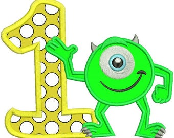 Mike Monsters Inc 1st Birthday Applique Design 3 sizes Instant Download